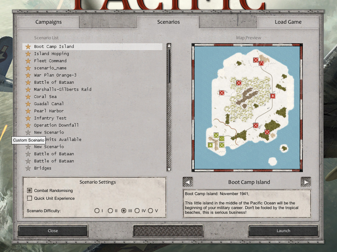 Scenario selection menu, showing (automatically generated) map previews for official and custom user maps.